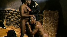 Exotic black men with massive members fuck each other in a threeway