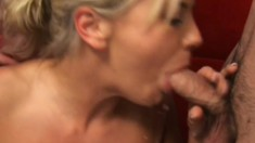 Wonderful young blonde Bree Olson has two horny guys fucking her holes
