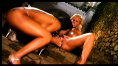 Horny hotties get it on with each other out in the yard, lesbian love