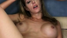 Roxanne Hall's titties bounce around through a brutal threesome
