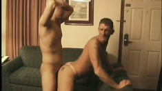 Tanned hunk with a slutty tattoo gets fucked like a little bitch