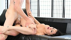 She wants a rough fuck from behind and his cream on her tits