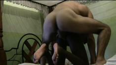 An ebony stunner bounces her hot body on a dude's stiff pole