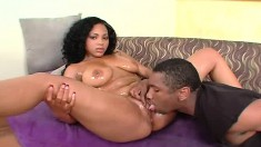 Caramel beauty with perfect tits and ass Kandee Licks loves black dick