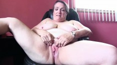 Chunky Grandma Lisa Gets Naked And Fingers Herself In The Office