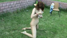 Naughty girl gets totally wasted and puts her body on display outside