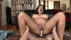 Big tit brunette chews on his meat and takes it right into her cooter