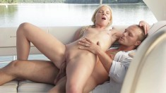 Blonde chick gets into some pussy-plowing action with a hunk