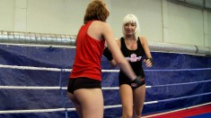 Sandra Seashell and Leyla Peachbloom wrestle with the winner getting licked