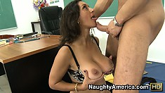 Whorish teacher Persia Monir waits for that cock to cum on her belly or face