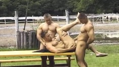 Mihaly invites two handsome gay boys for a hardcore threesome outside