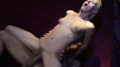 Sexy slender blonde gets her lovely pussy fucked rough and creampied