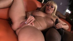Austin Taylor oils up her booty and impales herself on a black stick