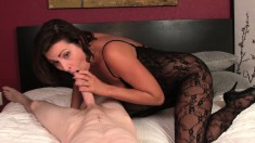 Young Conner Lies On His Back For A Hot Blowjob From A Sexy Brunette Cougar