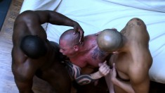 Tattooed gay stud introduces himself to a wild interracial threesome