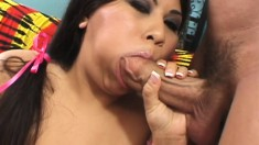 Latina plumper chews on his meat and takes it up her cootch to ride it