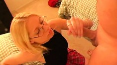 Beautiful blonde girl with glasses Morgan gives a great handjob in POV