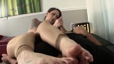 Tattooed Ashton Pierce Works Magic With Her Feet On His Pecker