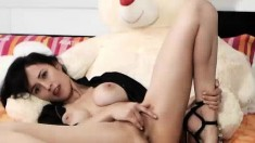 Horny brunette teen enjoys big toy
