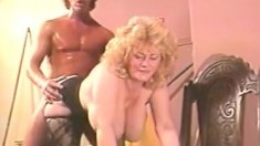 Vintage Blonde Mature With Jizzed And Natural Tits Fucked