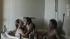British blonde slut in a Ffm threesome in the shower again