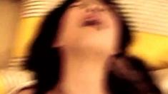 Horny japanese slut opens hairy pussy for hardcore pounding