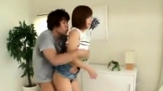 Horny japanese milf fucked on her hairy pussy