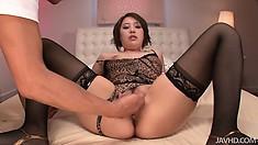 The vibrators and fingers on her clit causes her to loudly cum