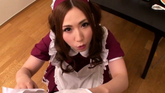 Busty Japanese Maid In Blue Uniform Fucked By busty