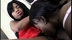 Two ebony lesbian bombshells love playing with their kinky toys