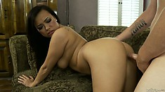 Sweet Asian babe banged hard and deep by a huge cock in a video featuring Gia Grace