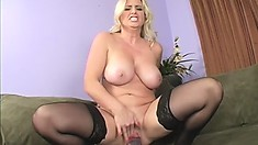 Busty blonde Kala toys her twat and gets a big black cock to replace her dildo