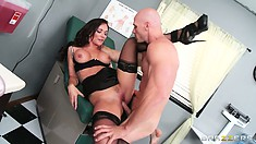 She bends over and takes his prick from behind and then he licks again