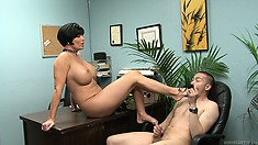 Shay Fox tries out this Asian's little cock by measuring it and kicking it