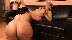 Lovely sexy-looking Alyssa Dior does nifty cunnilingus for her girl