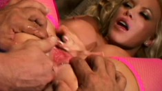 Voluptuous blonde gets double penetrated and enjoys intense pleasure