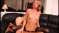Bitches in stockings get together to play with a horny gentleman