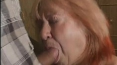 Mature lady Jan shows off her big breasts in a hardcore session