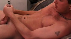 Hot guy pleases himself and fucks his lover's hungry ass on the bed