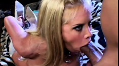 Big breasted blonde seduces two dudes into pounding her snatch