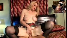 Horny blonde MILF has captured an eager college cock to ride